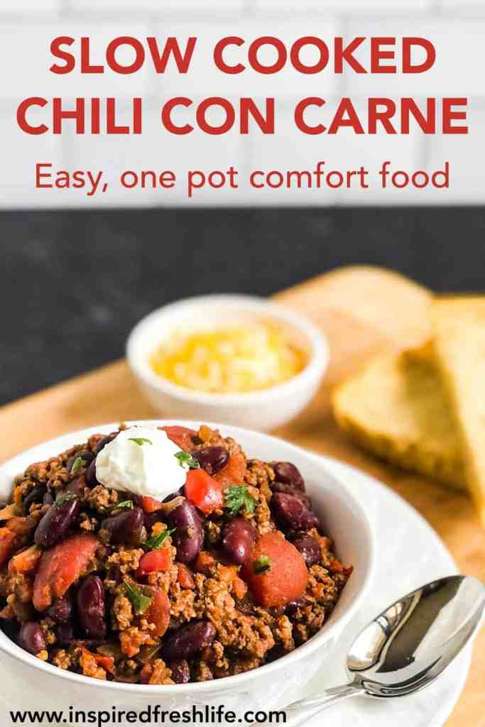 Pinterest image for Slow Cooked Chili