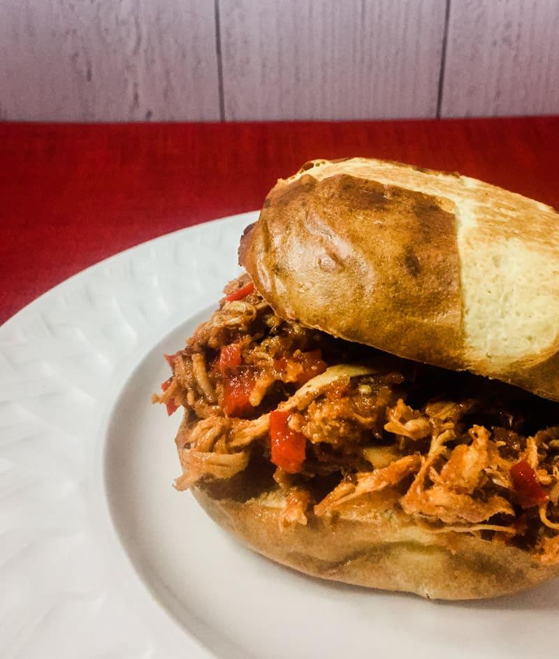 BBQ Chicken Sandwich on a white plate