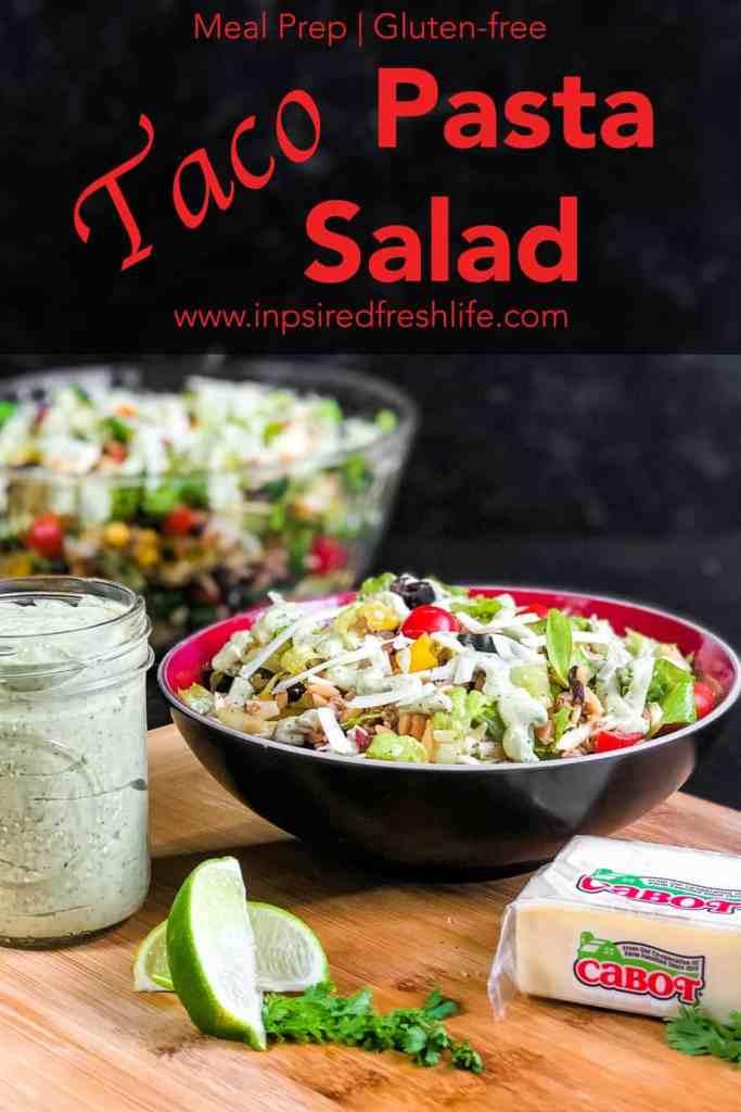 Pinterest image for Taco Pasta Salad.