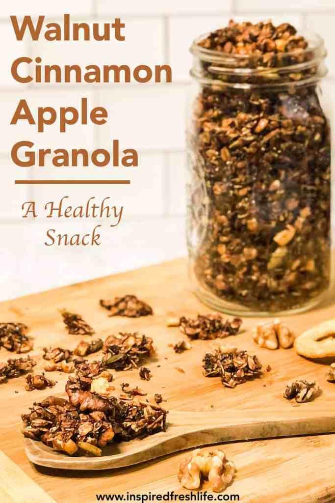 Pinterest image for Walnut Apple Granola.