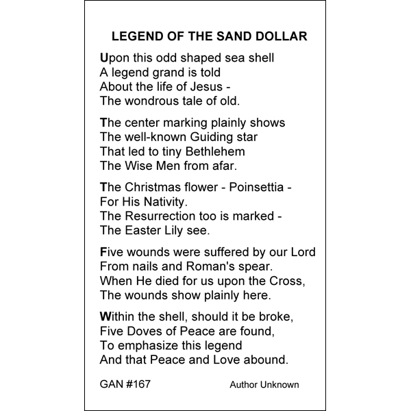 graphic about The Legend of the Sand Dollar Printable referred to as Legend of the Sand Greenback Prayer Card