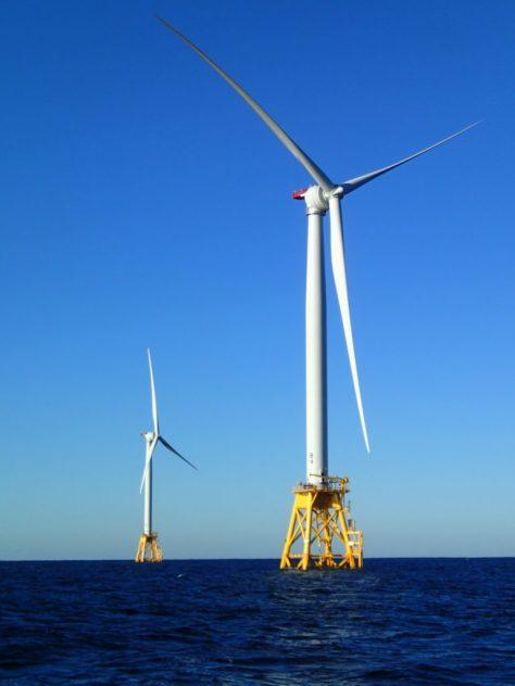Two Wind Turbine Generators that form part of the Deepwater Wind Block Island Wind Farm array.