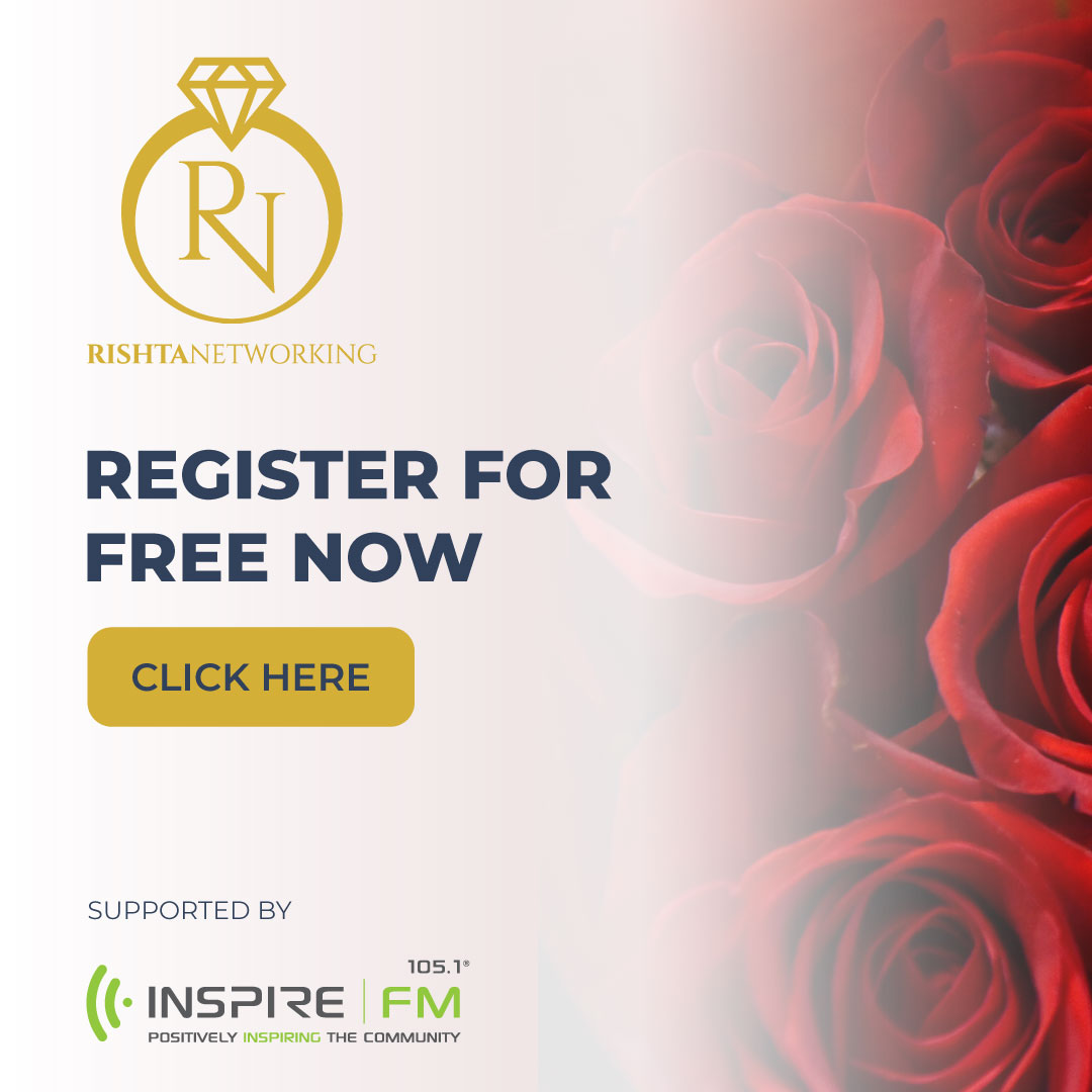 "image of roses. Rishta networking logo. text ""register for free now. click here. supported by inspire fm (logo)"""