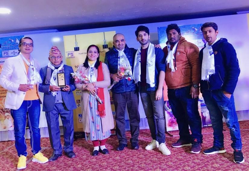 Award Winning Historic  Director Kiran Khatiwada with his Family and Bollywood Actor Shree Sachin Chhaber