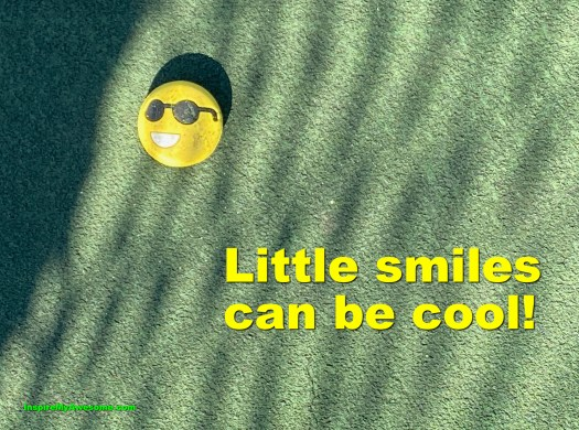 Picture of a small smile button. Little Smiles Can Be Cool.