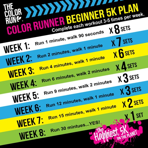 Color Run Beginner 5k plan
