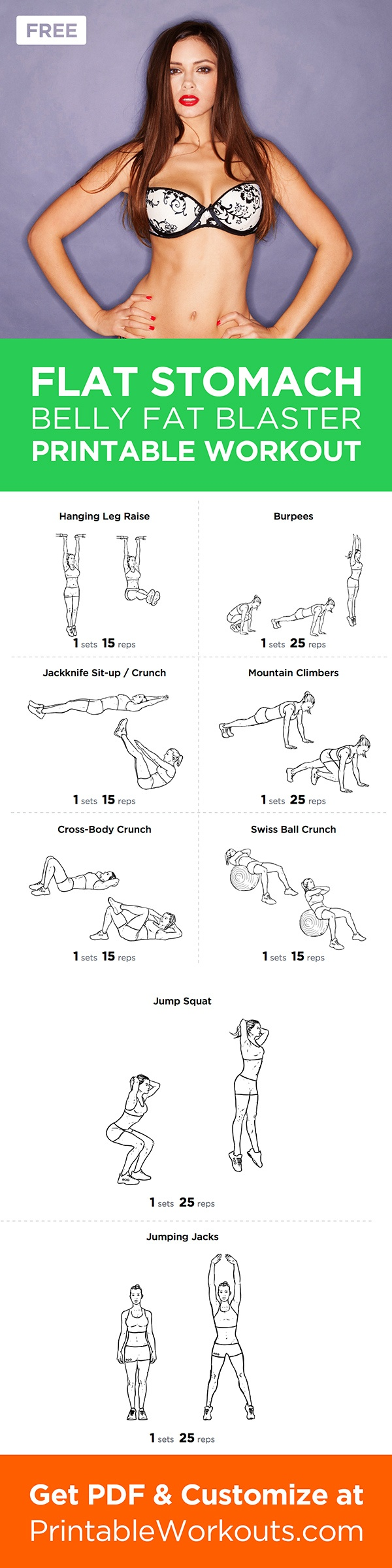 Flat Stomach - InspireMyWorkout.com - A collection of