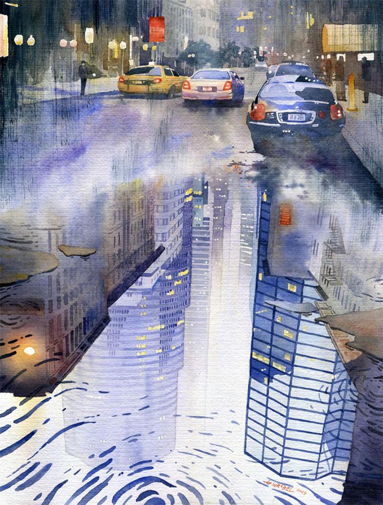 Gli acquarelli urbani di Grzegorz Wrobel