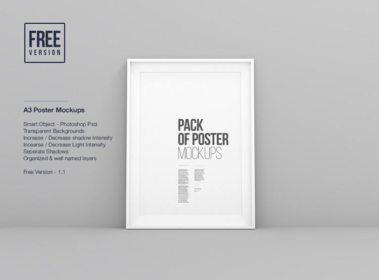 Poster frame mockup A3 format