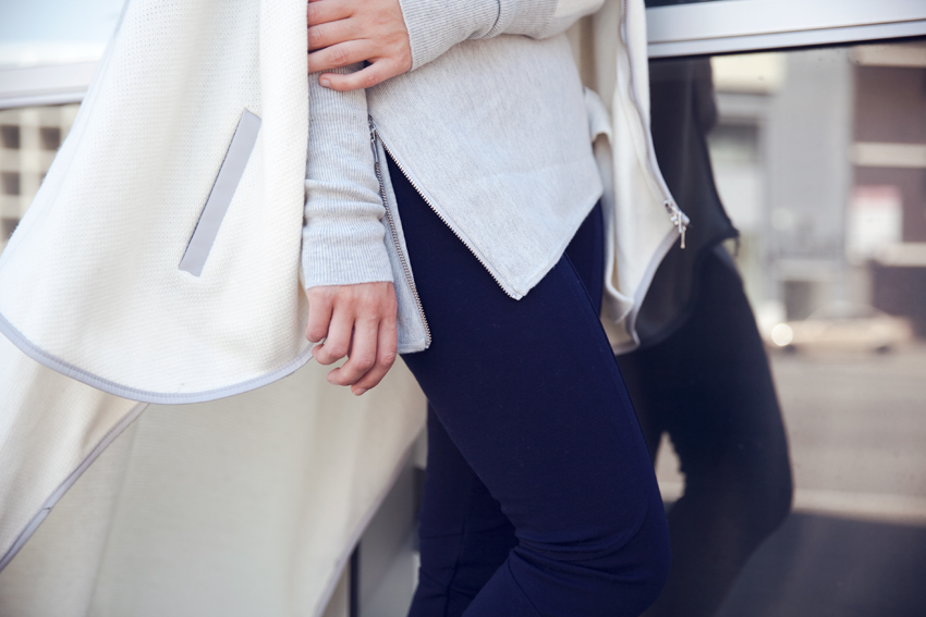 Oncewas winter 2015 knit jumper, ponte pants, blanket cape as worn by Jenelle Witty of Perth fashion blog Inspiring Wit