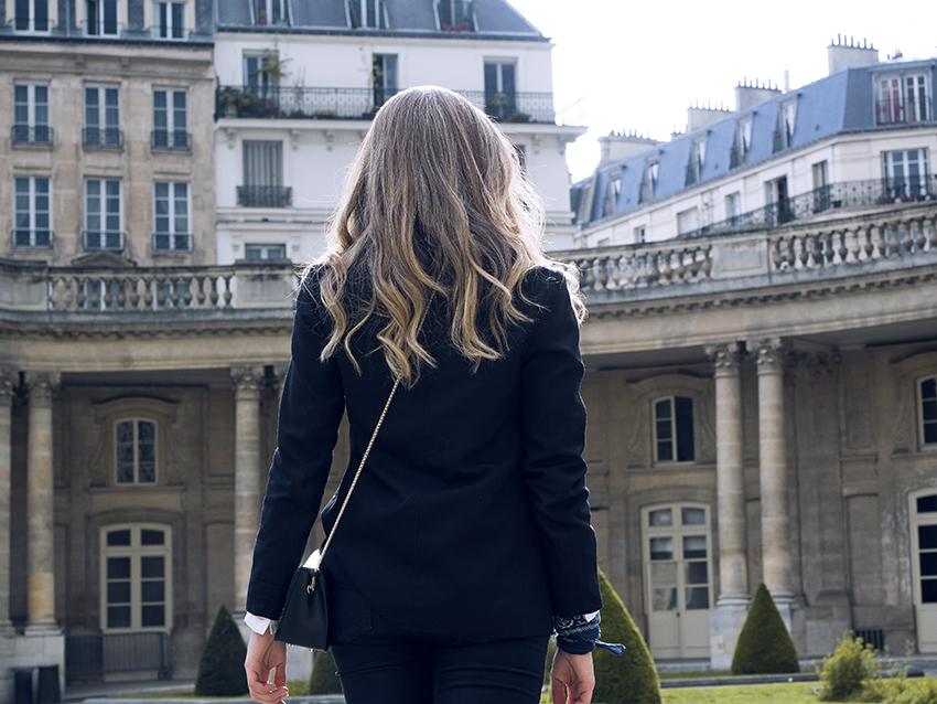 fashion blogger Jenelle Witty of Inspiring Wit blog in Paris wearing Furla bag, bandana.