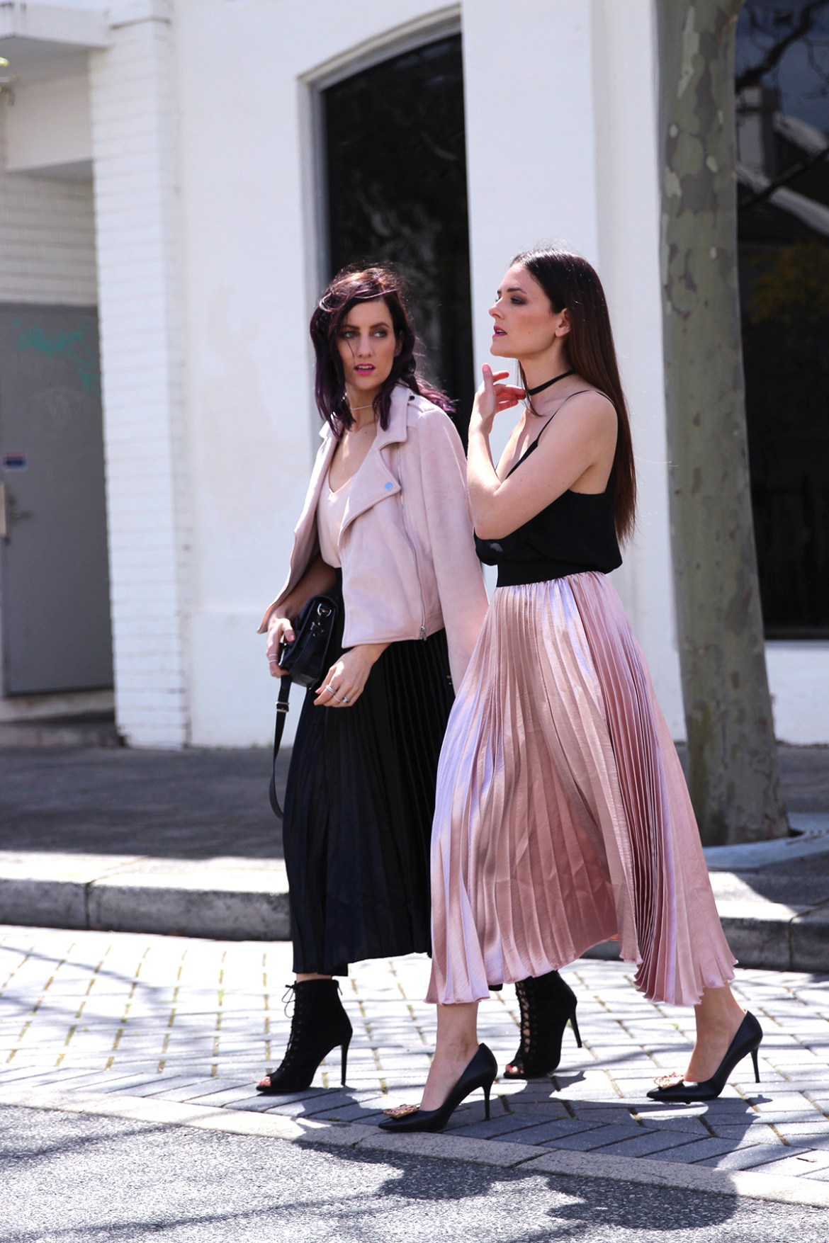pleated metallic skirt trend on fashion bloggers She Does and Inspiring Wit blush pink and black