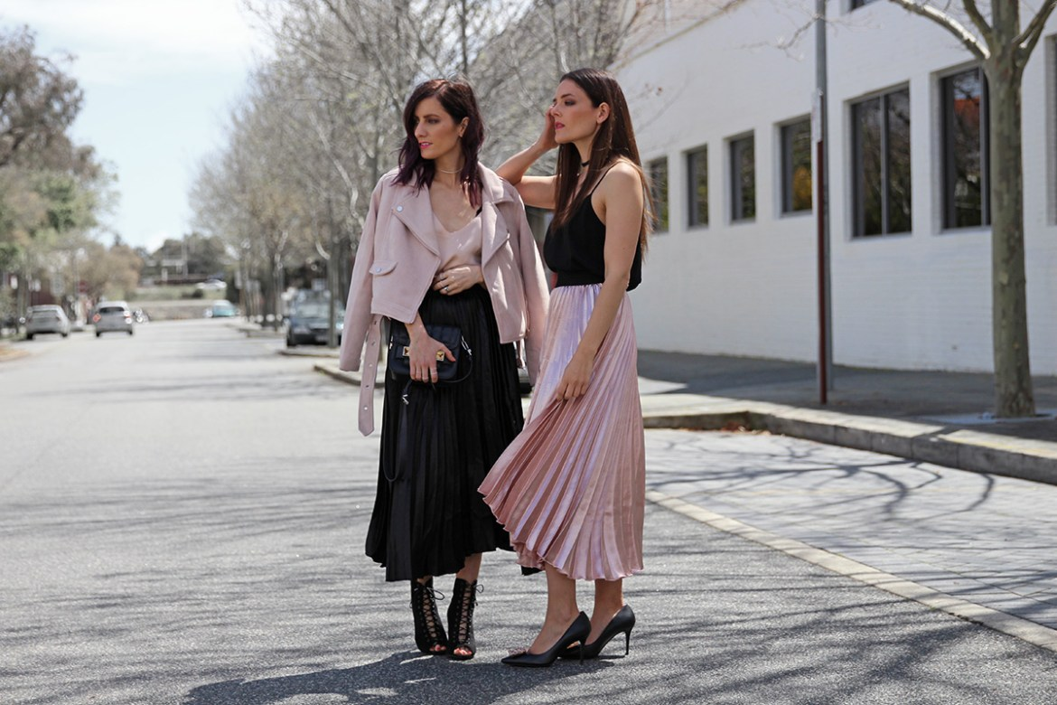 Perth fashion bloggers She Does (left) @shedoestyle and Inspiring Wit (right) @inspiringwit in the pleated metallic skirts from Hello Parry #metallicskirt #blackandpink #fashionbloggers