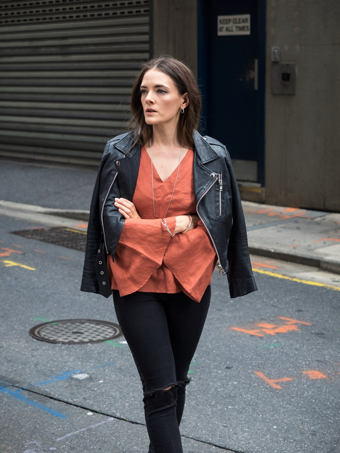 Seed Heritage autumnal flared sleeve top with leather jacket street style Australian blogger, Inspiring Wit