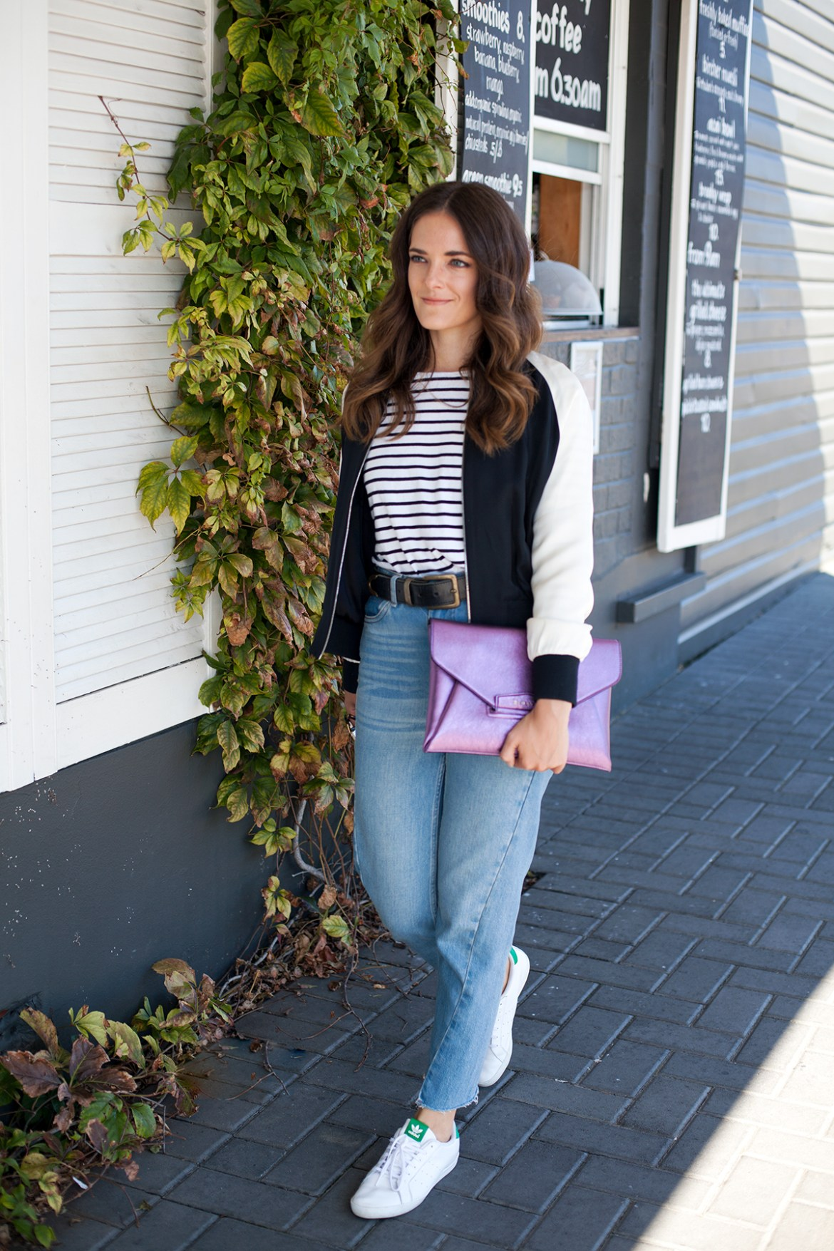 Metallic envelope clutch by Givenchy worn by Inspiring Wit blogger Jenelle