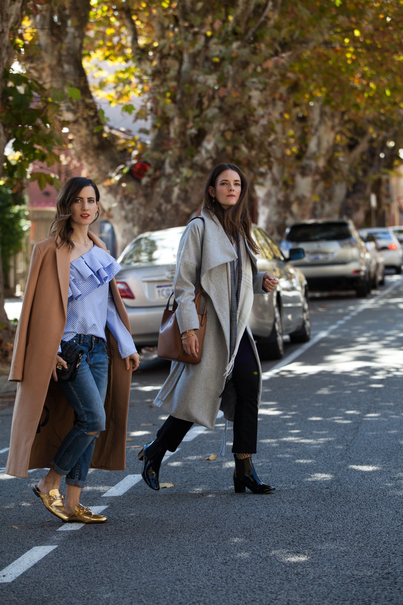 Winter layering, with Inspiring Wit blogger Jenelle and She Does blogger Emily, grey and tan winter coats street style Perth