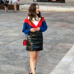 H&M street style for Perth new H&M store on Jenelle, Inspiring Wit Australian fashion blogger. In vinyl mini skirt, red shoulder bag and blue and red v top