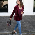 Topshop red velvet blazer Ginia RTW silk cami in wine burgundy. Worn by Inspiring Wit blogger Jenelle