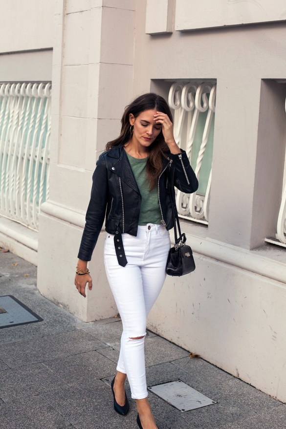 amare tee, white jeans, black leather jacket outfit for everyday worn by Inspiring Wit blogger Jenelle