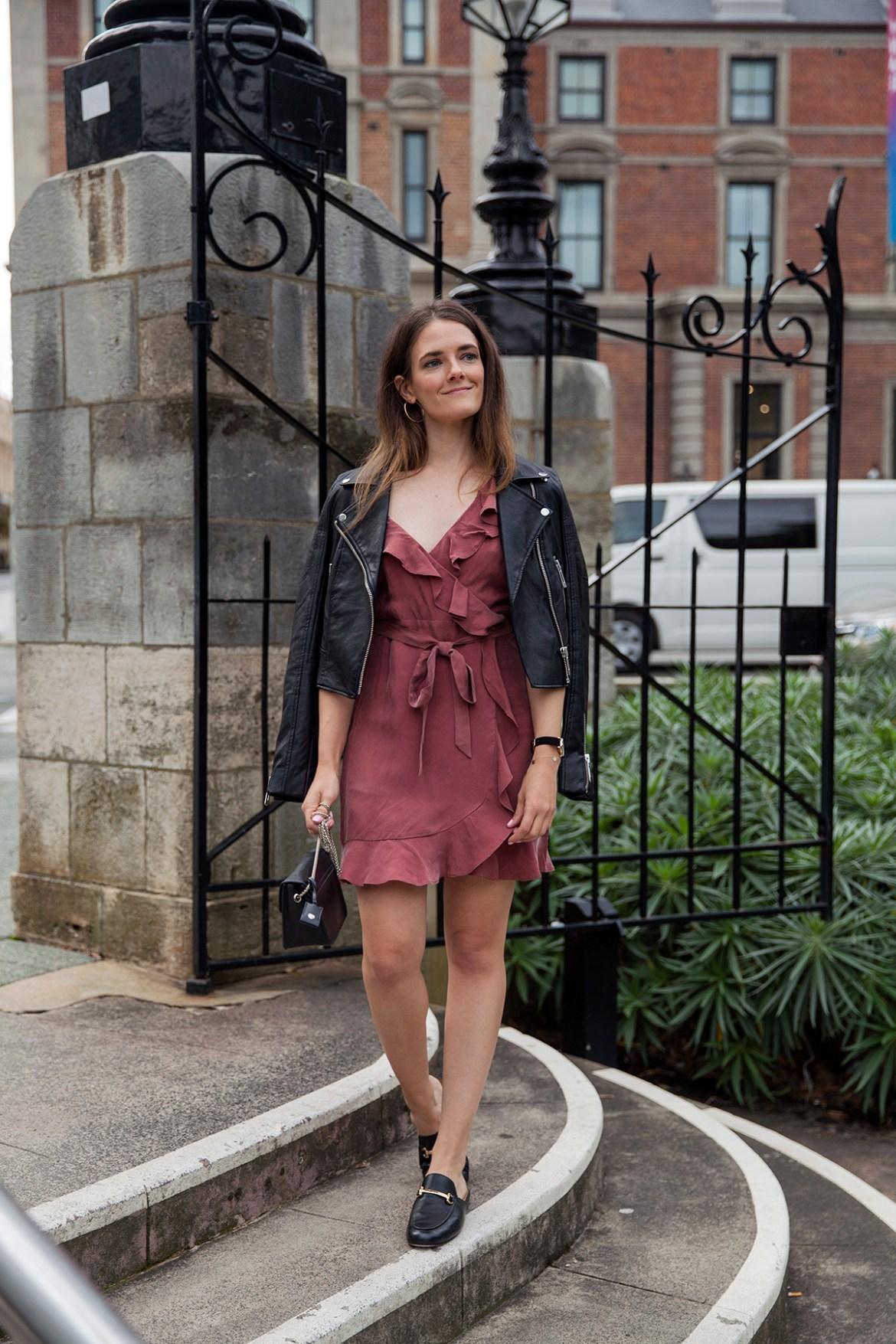 Ruffle dress by Bardot worn by fashion blogger Jenelle of Inspiring Wit