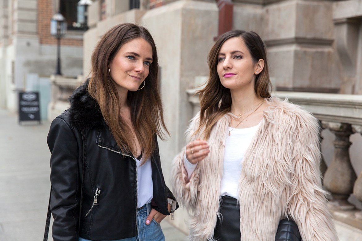 Winter looks, style bloggers Inspiring Wit and She Does sharing six winter street styles, Biker jacket and faux fur coat