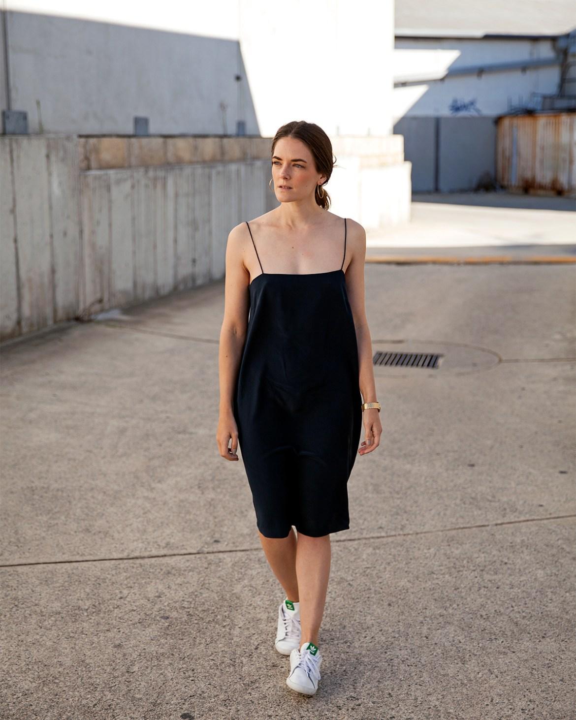 Ginia RTW silk slip dress worn by Inspiring Wit fashion blogger Jenelle Witty.