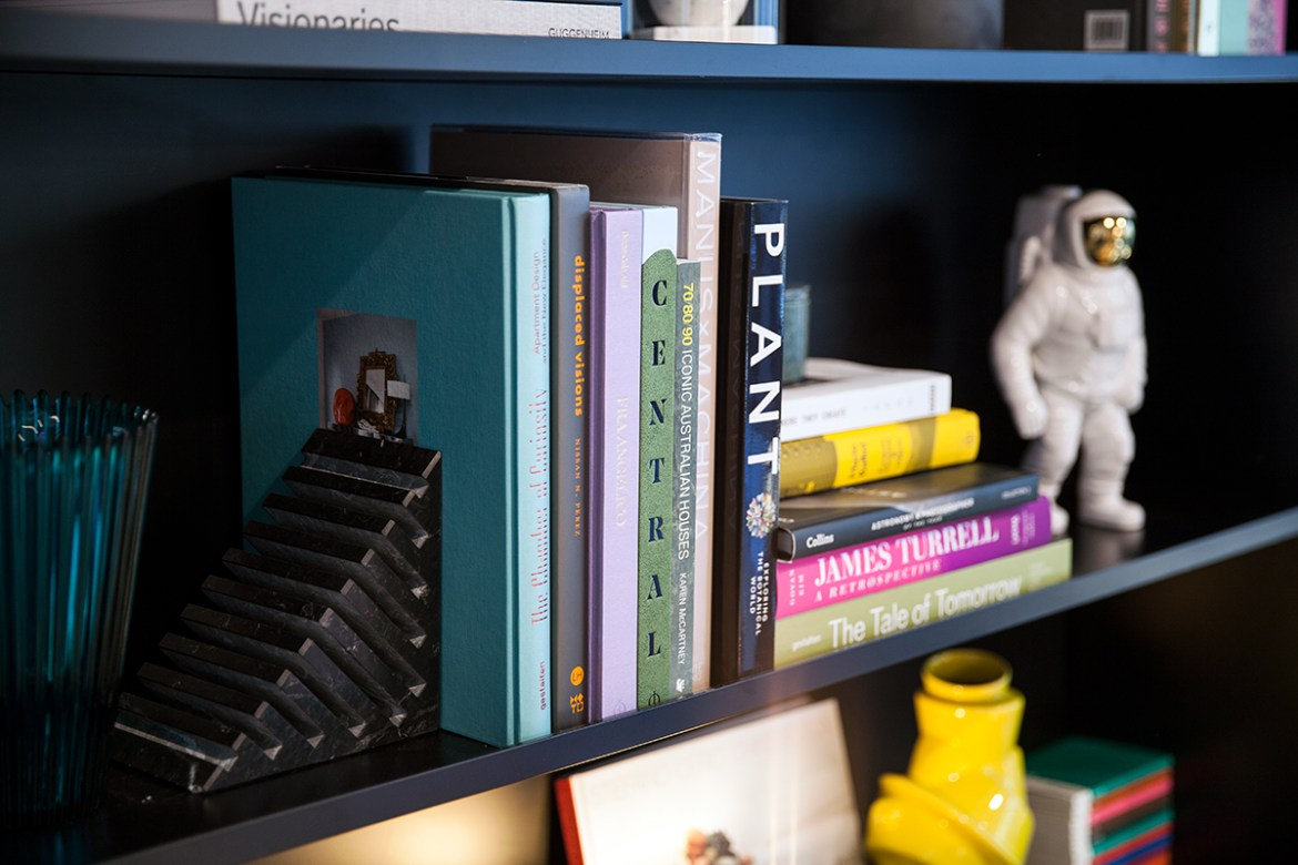 Tribe Hotel Perth, Interior bookshelf Jenelle from travel blog Inspiring Wit boutique hotel profile