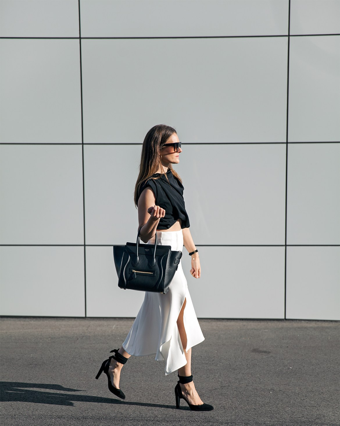 midi skirts, five reasons you need one, Hermes suede heels, Ellery Crop, Celine sunglasses, Celine tote, Hello Parry midi skirt worn by Inspiring Wit fashion blogger Jenelle Witty