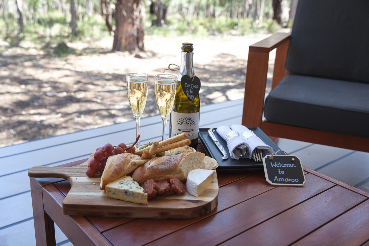 Inspiring Wit travel blog, visiting the new Amaroo Spa Retreat in the Perth Hills welcome platter wine and cheese