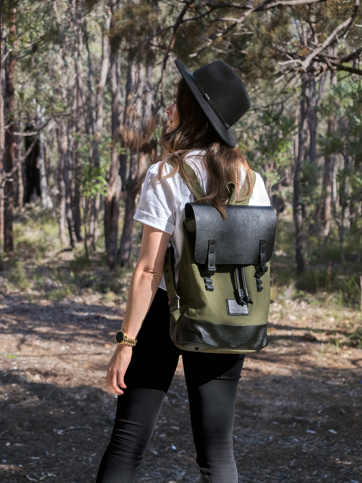 Gaston Luga Praper olive and black backpack worn by Inspiring Wit travel and fashion blogger Will and Bear wool hat