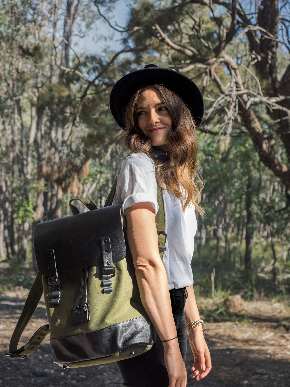 Gaston Luga Praper olive and black backpack worn by Inspiring Wit travel and fashion blogger