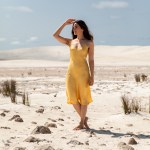 Silk Laundry slip dress in yellow worn by Jenelle of the fashion blog Inspiring Wit sand dunes Perth
