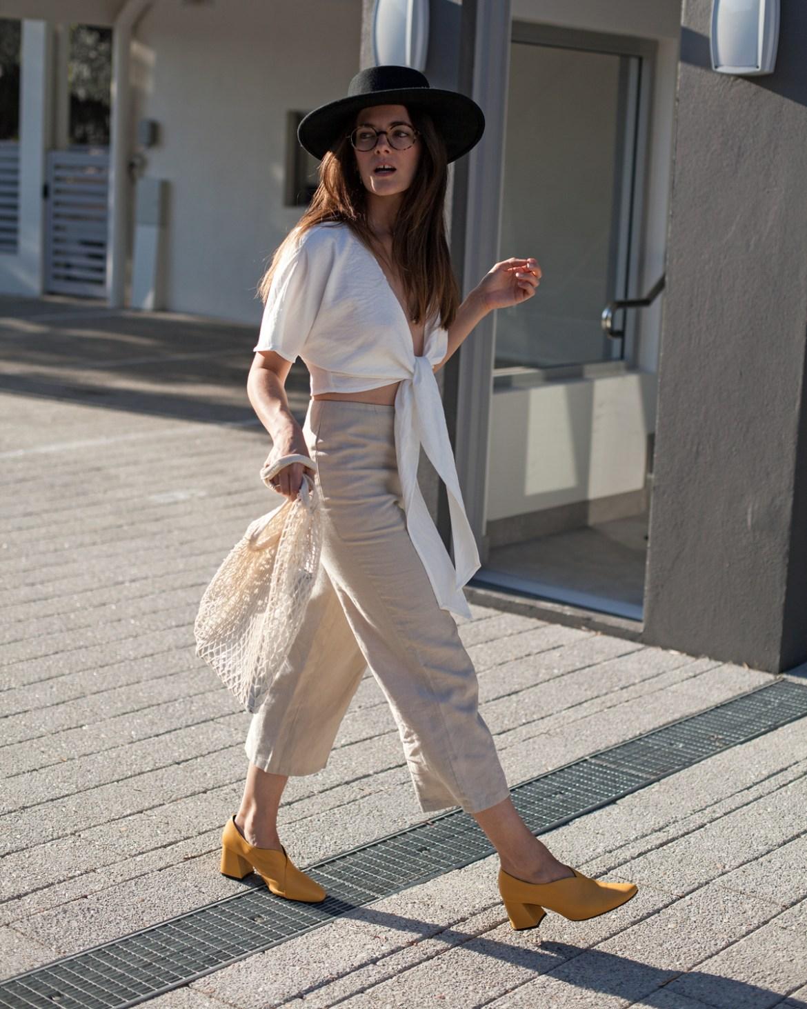 statement coloured pump heel EOD extraordinary ordinary day Tara pump heels in mustard worn Staple linen tie front top by Inspiring Wit blogger Jenelle