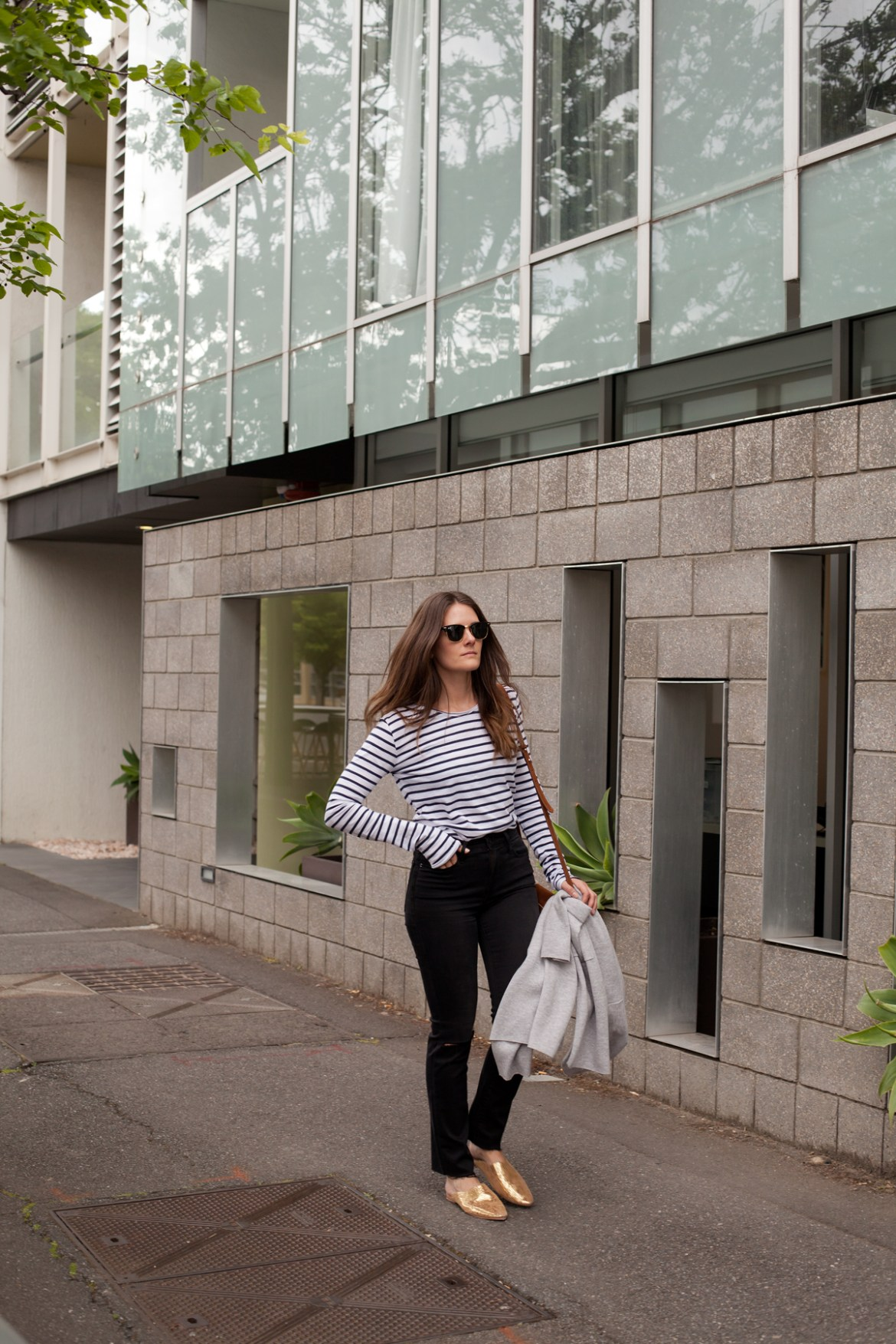 Sassind gold leather babouche slides, grey longline merino cardigan, striped tee, Frame denim jeans worn by Inspiring Wit fashion blogger Jenelle