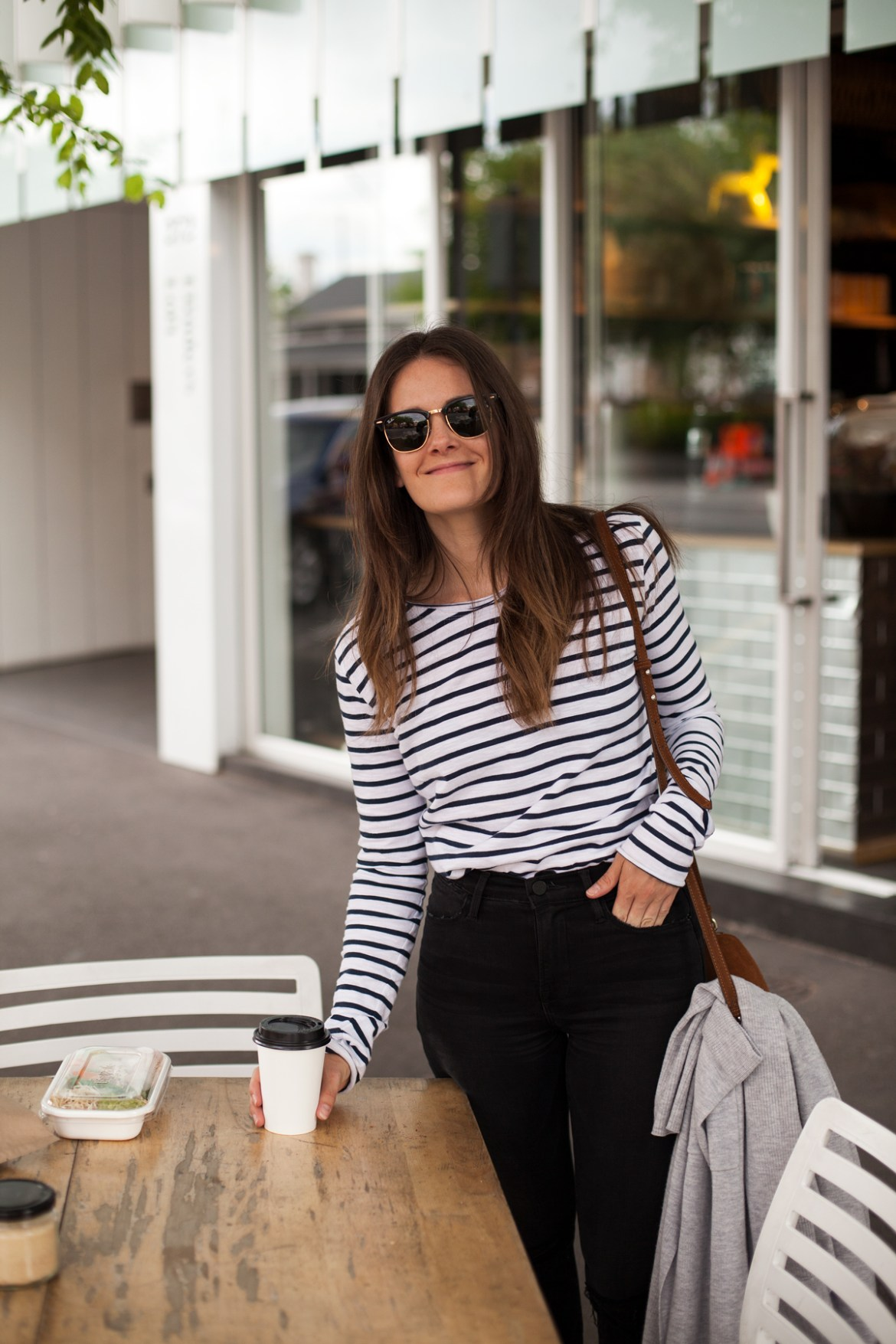 Sassind black and white long sleeved striped tee worn by Inspiring Wit fashion blogger Jenelle Witty in Adelaide