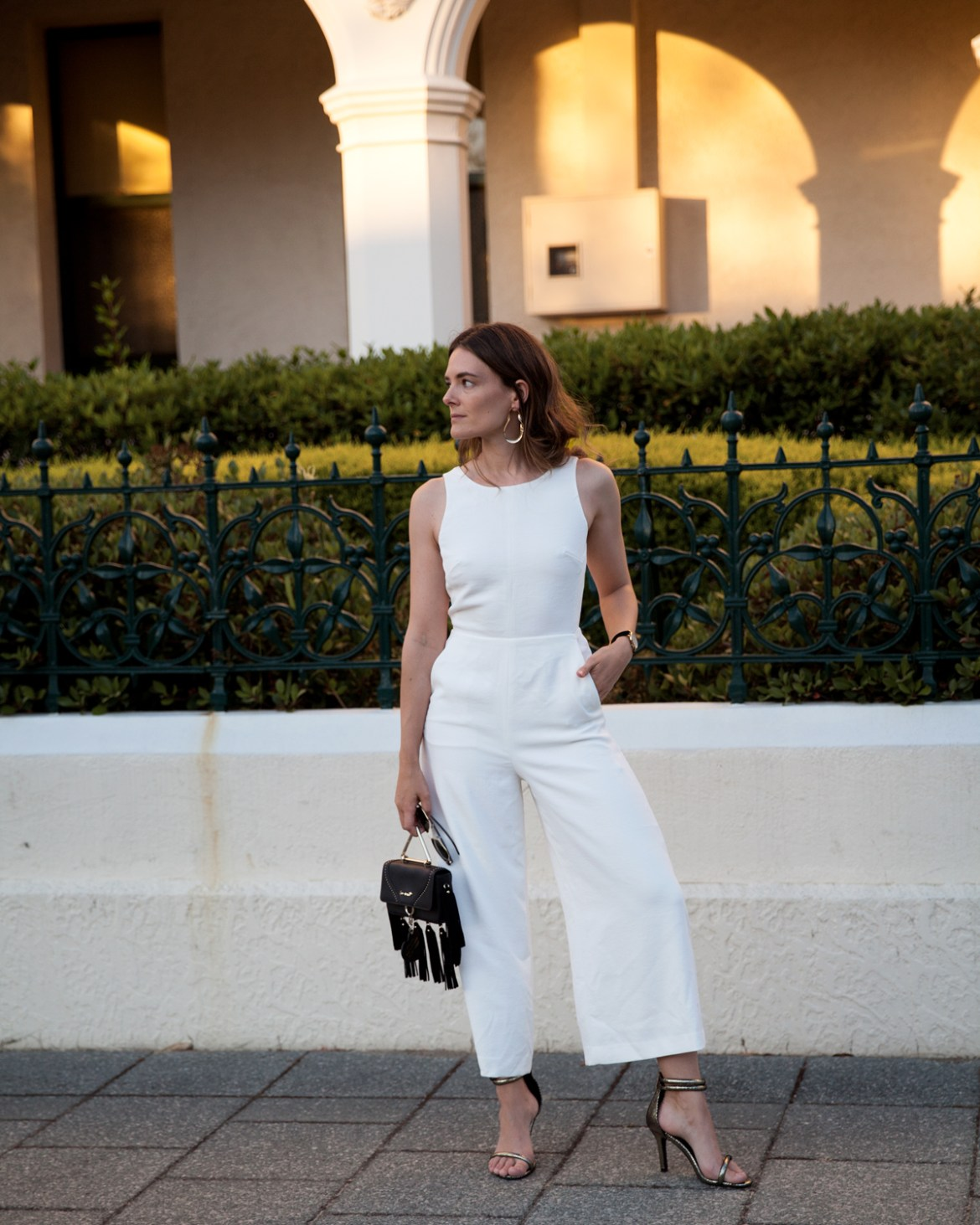 party outfits for Christmas and New Years, white jumpsuit from Saba
