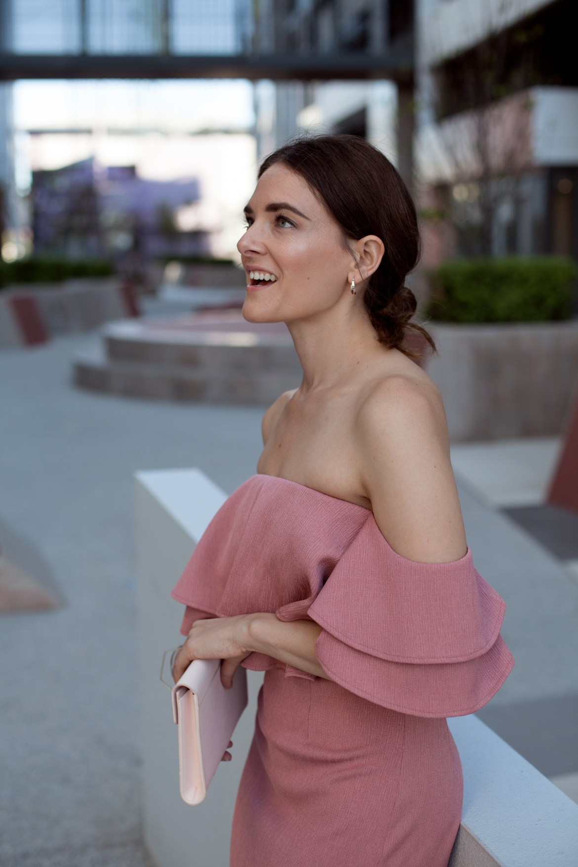 Keepsake the label No Reason off the shoulder dusty pink dress from Fashion BNKR, perfect for the holiday season, worn by Inspiring Wit blogger Jenelle Witty