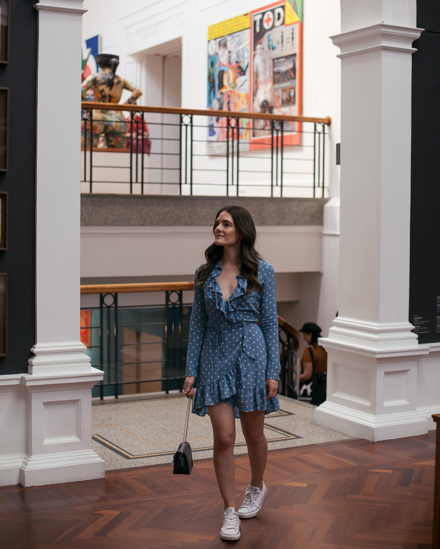 Realisation Par the Alexandra Dusty blue spot dress worn by Inspiring Wit blogger Jenelle Witty