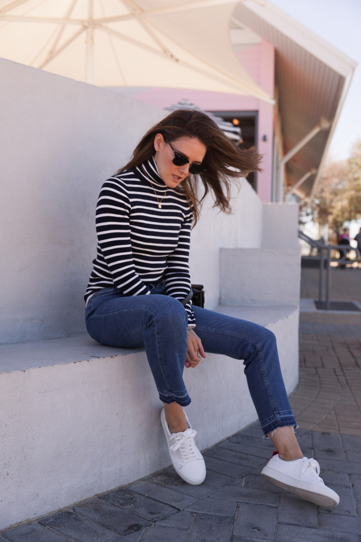 Boden stripe turtleneck top, jeans and white sneakers worn by Inspiring Wit blogger Jenelle Witty