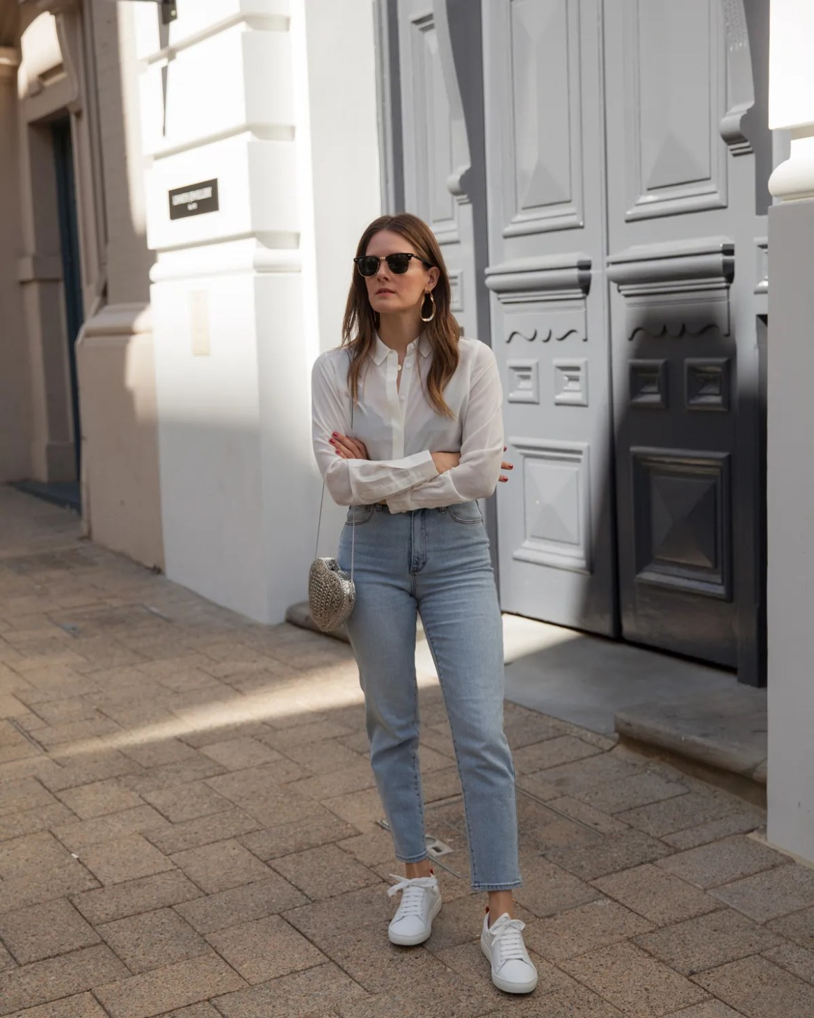 Boden silk shirt and white sneakers worn by Inspiring Wit blogger Jenelle Witty