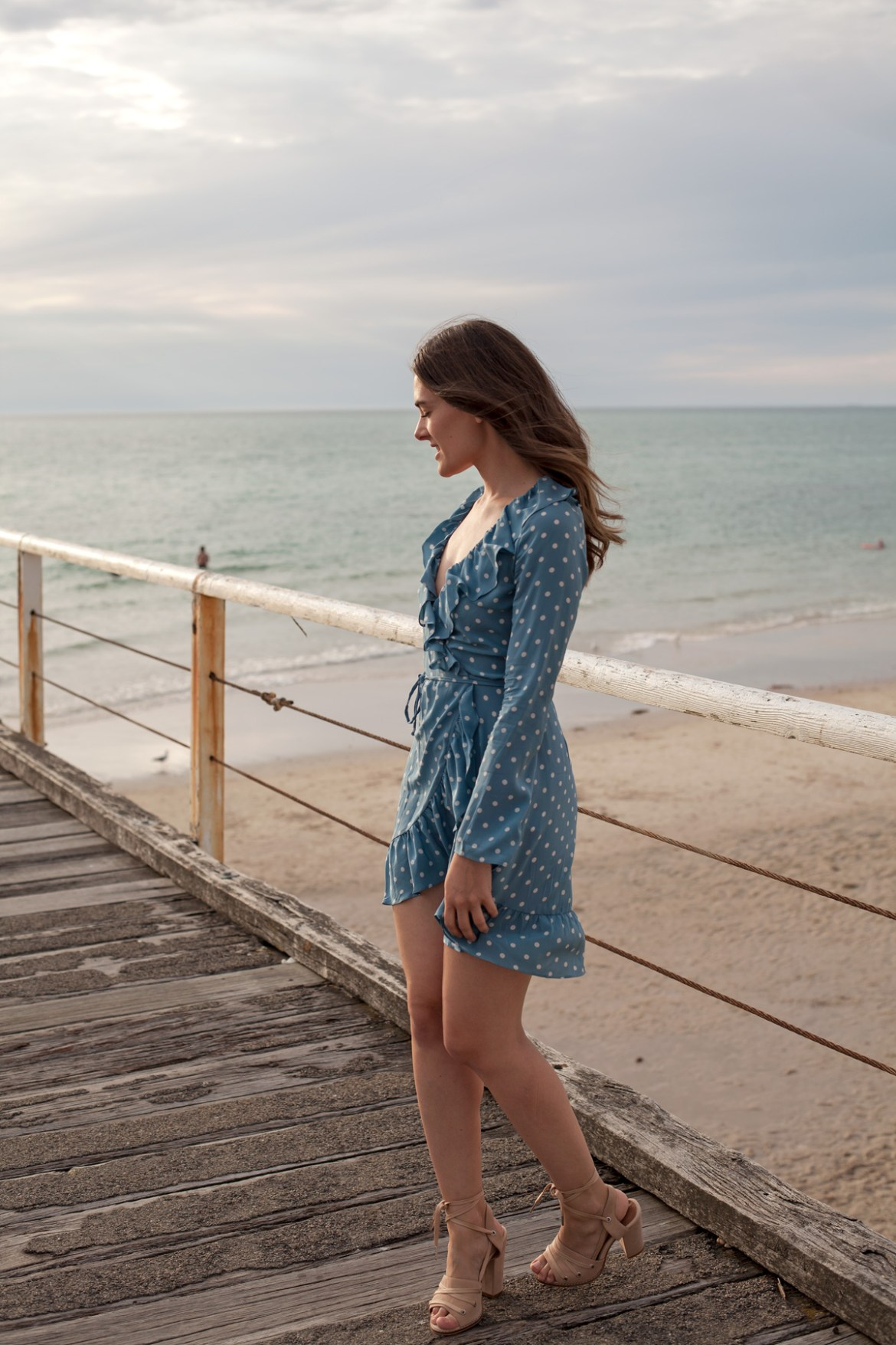 Realisation Par the Alexandra dress in dusty blue spot with Alias Mae heels worn by Inspiring Wit blogger Jenelle Witty
