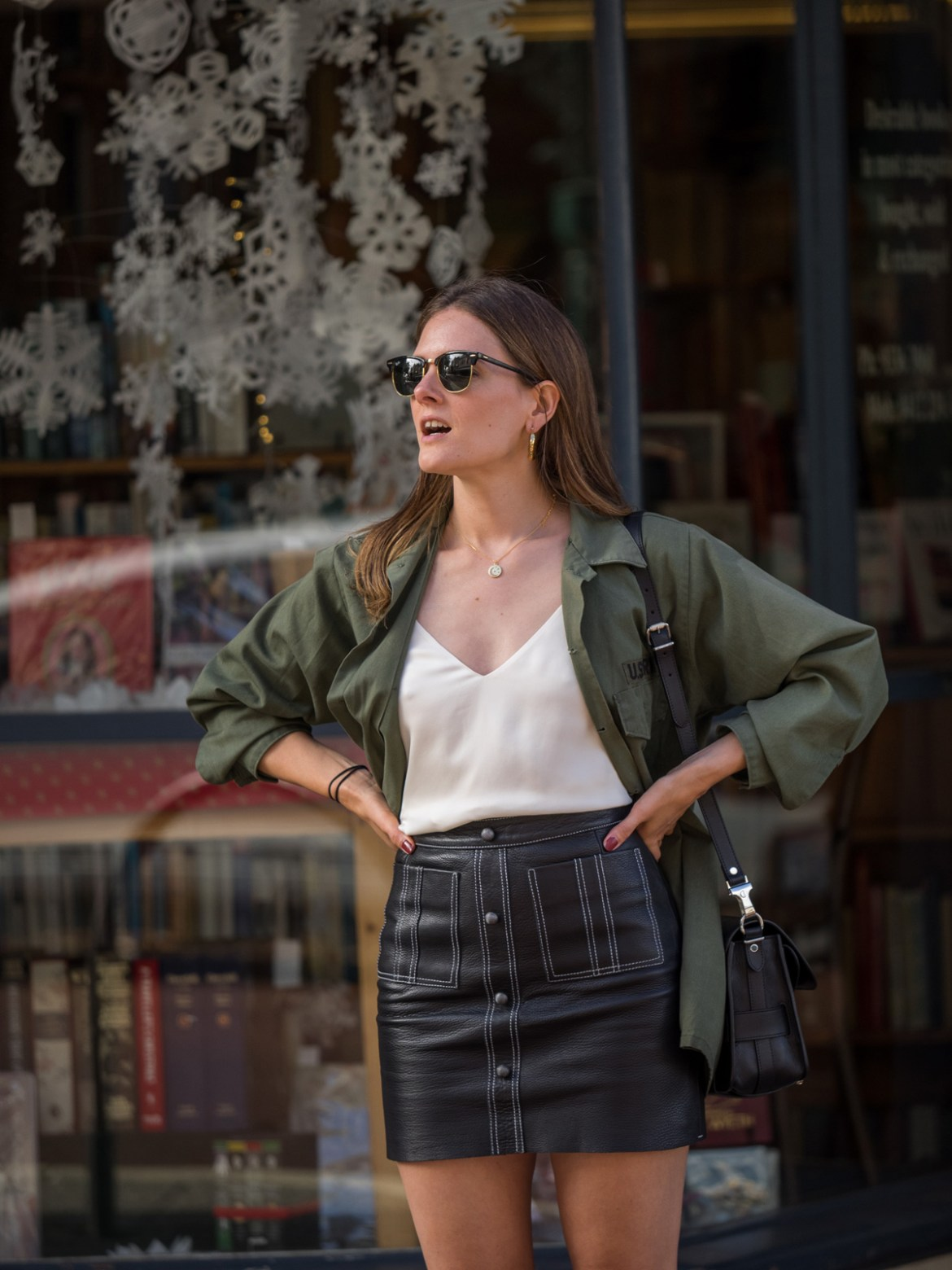 Aje leather mini skirt with army jacket worn by Jenelle Witty of Inspiring Wit fashion and travel blog
