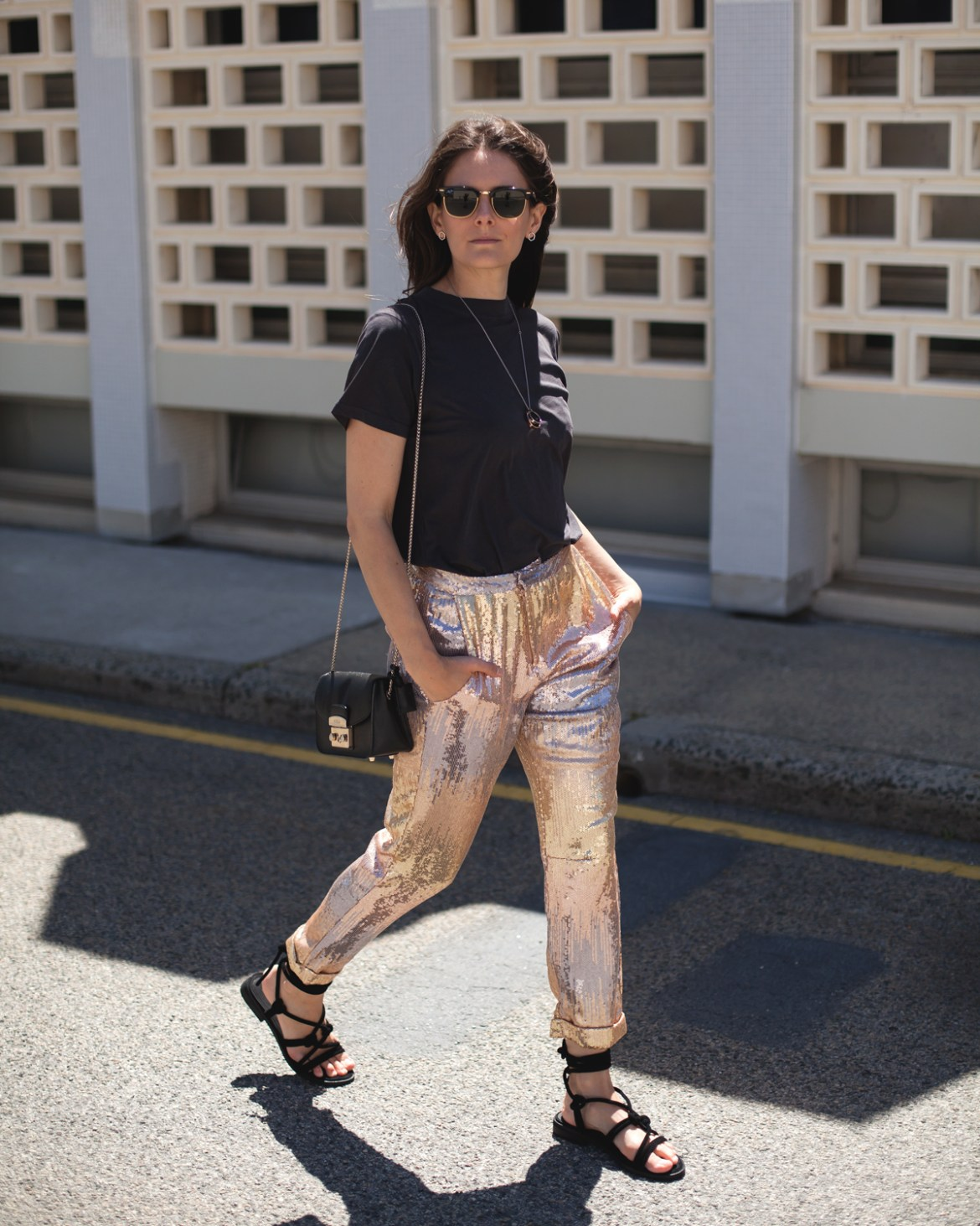 stepping out of your comfort zone Jenelle Witty of fashion blog Inspiring Wit wearing Laura Egloff sequin pants sol sana sandals