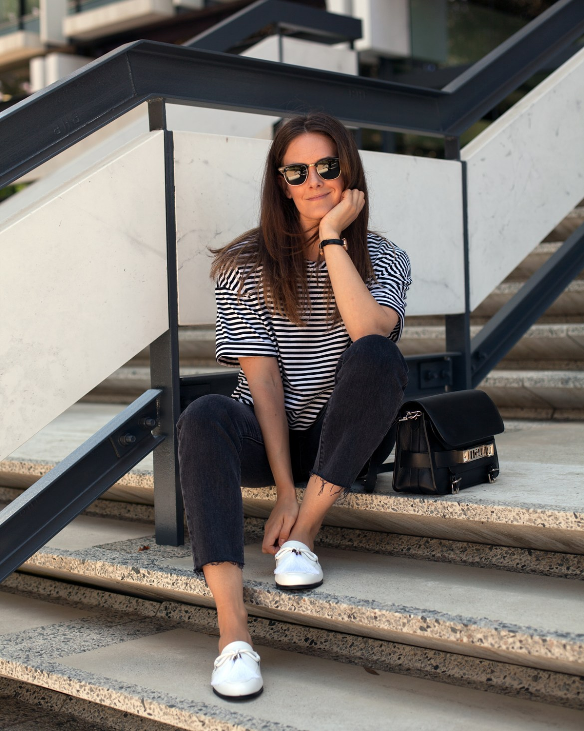 Autumn style Mesop stripe tee, Levi's jeans, Proenza Schouler bag and Jo Malone slides worn by Inspiring Wit fashion blogger from Australia Jenelle Witty