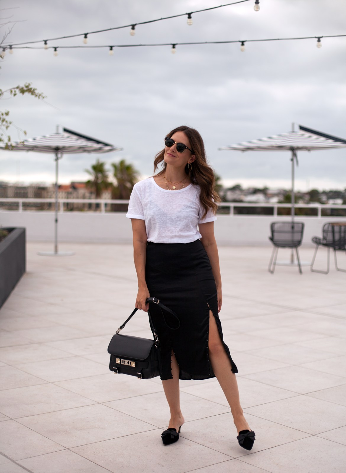 wardrobe new in video on youtube for Inspiring Wit TV Jenelle wearing black midi skirt and PS11 bag from Proenza Schouler