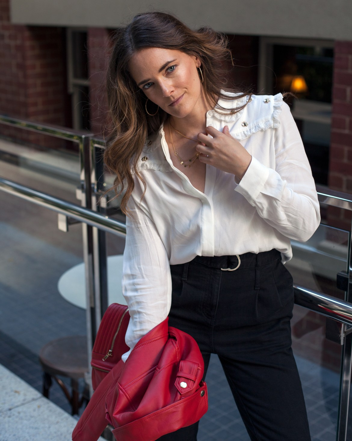 Maje Paris bee blouse, red leather jacket, stud boots worn by Jenelle from Inspiring Wit