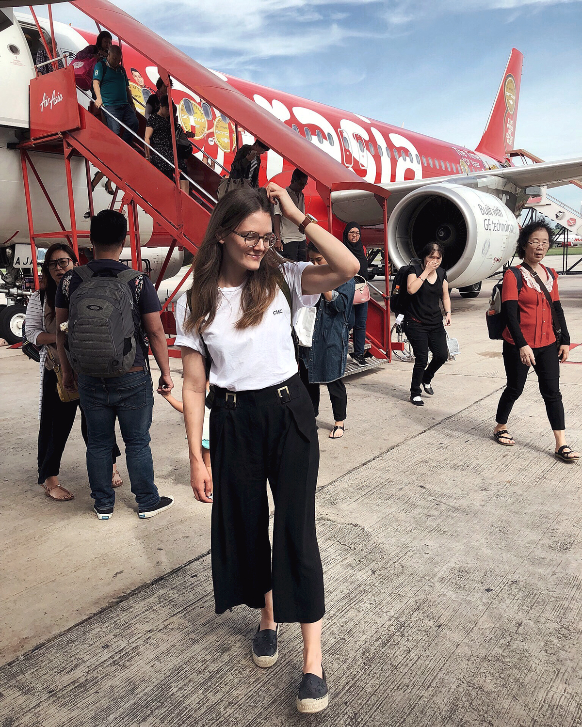 AirAsia flight with Inspiring Wit blogger Jenelle on the tarmac