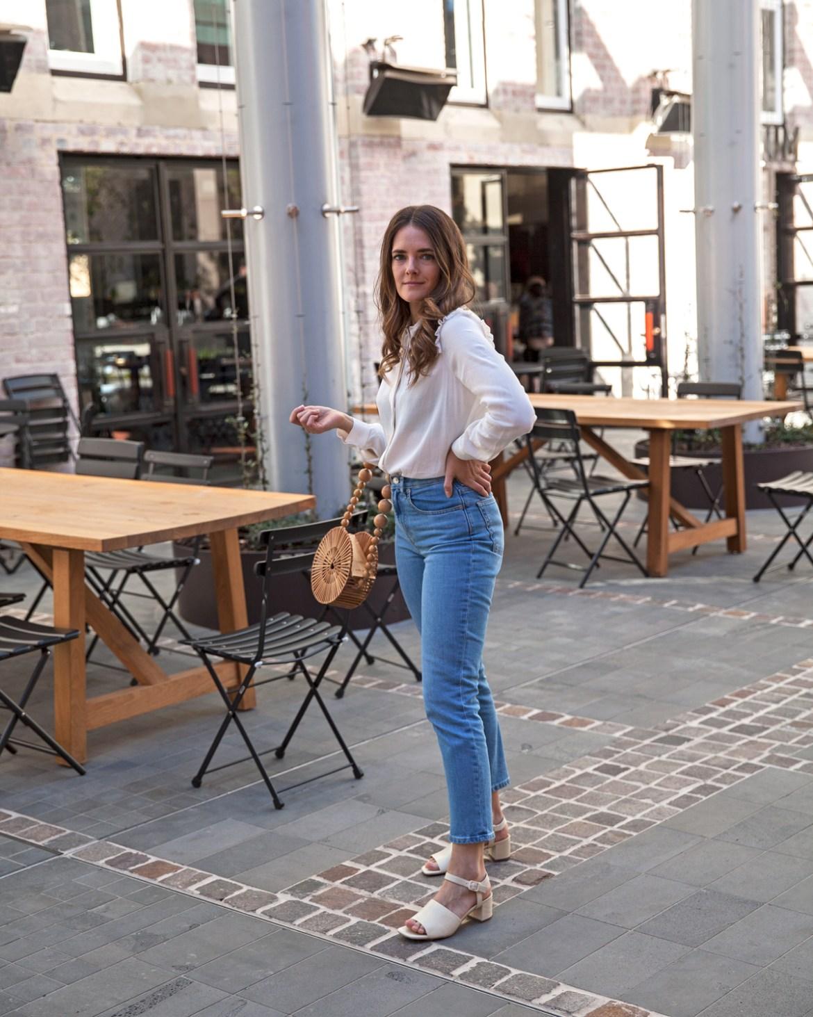 Everlane cheeky straight jean and block heeled sandal worn by Australian fashion blogger Jenelle Witty of Inspiring Wit with Cult Gaia circle bag