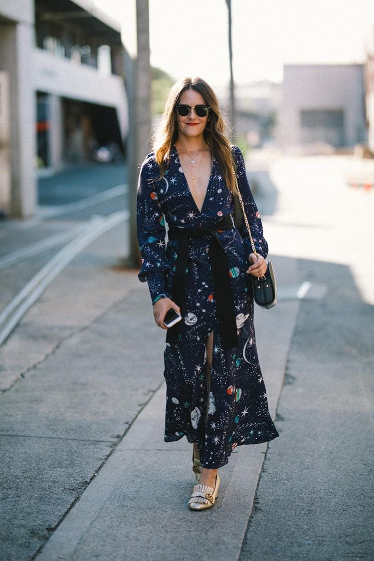 MBFWA 2018 street style Inspiring Wit fashion blog outfit. Wearing Rixo London galaxy print dress with A.P.C Luna Half Moon Bag and Gucci gold Marmont heels