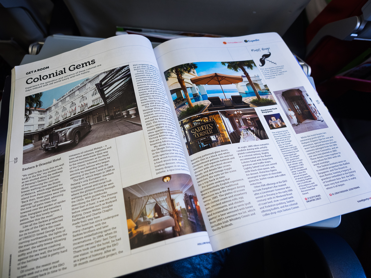 Inflight magazine article on Eastern and Oriental Hotel AirAsia review flying from Perth to Penang with travel blogger Inspiring Wit